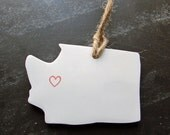 Washington State Clay Tag -Seattle, Spokane, Tacoma, Bellevue, Olympia, Ornament, Gift Wrap & Decoration