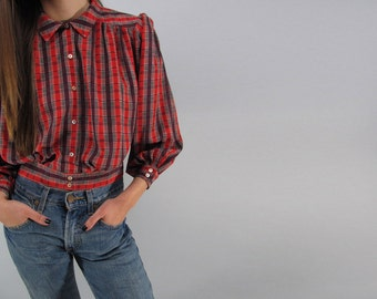 80s Plaid Blouse, Puff Sleeve Top, Vintage 80s Top Δ size: xs / sm