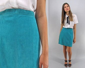 Sale - Vintage 80s Mini Leather Skirt, High-Waist Skirt, Teal Leather Skirt, Pencil Leather Skirt Δ size: sm
