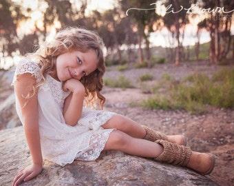 Girls dress, lace flower girl dress, girls dress, girls lace dress, easter dress, brown lace dress, rustic flower girl dress, Boho Dress