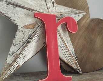 Handpainted Wooden Wall Letter - Distressed - 'r' - New Times Roman - large lowercase - various colours and finishes