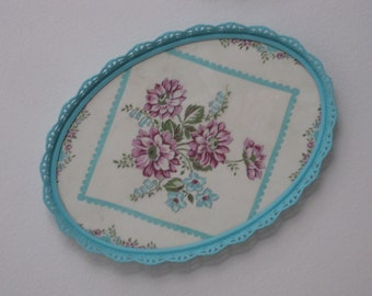 Vintage Filigree Oval Vanity Tray Shabby Chic Floral Hankie Hand Painted Aqua Blue