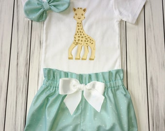 Girls 1st Birthday Onesie Outfit, Bloomers, Knot Bow Headband, Cute Giraffe, Gold Giraffe Onesie, Carters Onesie, Baby Girl Mint Onesie Set