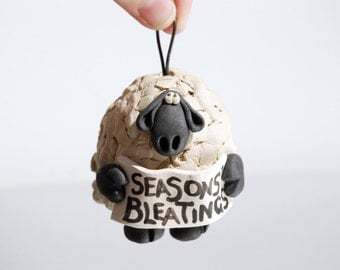 Seasons Bleatings Sheep Ornament Bell for your home or Christmas tree