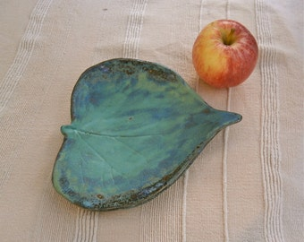 Leaf dish - candy tray - blue green votive holder - handmade ceramic jewelry catcher
