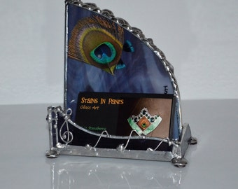 Music - Desk Top - Business Card Holder - Custom - Treble Clef - Musical - Musician - Office Art - Display -Stained Glass - Unique Design