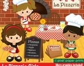 La Pizzeria Girls - Clip art and digital paper set - Pizza party clipart