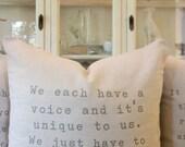Pillows-Pillow Covers-Decorative Pillows-Designer Pillow-Throw Pillow-Quote Pillow-Custom Phrase-Custom Cover-Poem Pillow-Song Lyrics Pillow