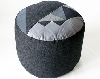 Dark Grey Tweed Pi. Patchwork pouffe