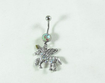 Belly Ring,  Unicorn With Rhinestones   Womens Gift  Handmade