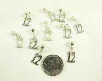 Number 12, 12th Man charms Silver with bails, Lot of 10  Jewelry Making Supplies