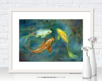KOI Watercolor Art, Koi Print, Koi Greeting Cards, Koi Original Painting, Koi Wall Decor, Koi Wall Art, Koi Pond Painting, Whispering Koi