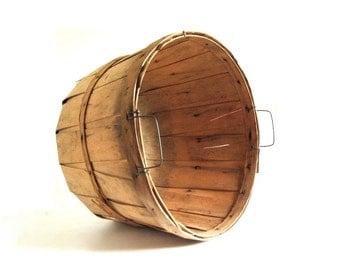 Large Wood Bushel Basket - One Full Bushel Vintage Bent Wood Wooden Basket, Thanksgiving Decor, Fruit & Apple Basket, Baby Photography Prop