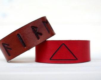 Fire Classical element leather cuffs symbol runes