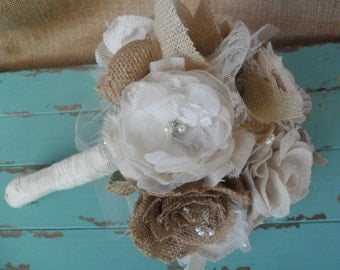 Bridal bouquet, Rustic Bouquet, Fabric Floral Bouquet, Wedding Bouquet, Rustic Bridal Bouquet, Shabby Chic Wedding, Country Wedding, Bouquet