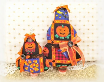 "Set of 2 Fabric Trees 7"" and  5"" Free Standing Candy Corn Pumpkins Halloween Print Tree Ornaments Christmas Home Decor CharlotteStyle"