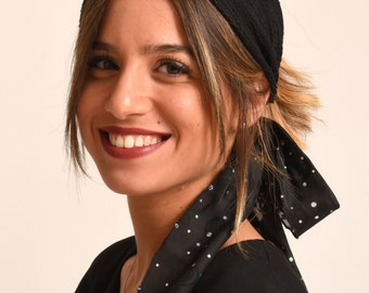 black hairband / hats Herzeliya / stretch headband / elegant turban made in Israel