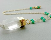 Raw Rock Crystal Necklace - Green Onyx Wire Wrapped Gold Chain Necklace Green and Gold Simple Jewelry