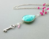 Silver Key Necklace - Green Chalcedony Necklace Hot Pink Chalcedony Sterling Silver Chain Necklace