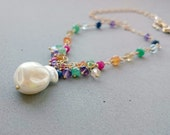 Keishi Freshwater Pearl Necklace with Ruby, Sapphire, Emerald, Carnelian, Amethyst, Citrine, Swarovski Crystal and Gold Chain