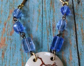 Upcycled bluebird necklace, repurposed, shabby chic, retro, one of a kind jewelry
