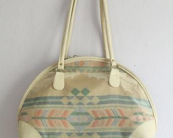 Vintage 1970's Geometric Cream Tapestry Shoulder Bag