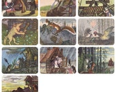 The Cat's House and The Wooden House (Russian Tales), Drawings by Y. Vasnetsov. Complete Set of 10 Postcards in original cover -- 1958