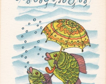 "Postcard Drawing by A. Golubev ""Rain"" -- 1967"