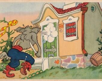 "K. Rotov's Illustration for ""The Three Little Pigs"". Postcard -- 1959"