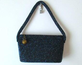 Vintage 1940s 1950s Iridescent Beaded Sequins Navy Blue Purple Handbag Purse Evening Formal Party Bag Purple Sparkle