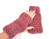 Rose Pink Hand Knit Fingerless Gloves - Knitted Mitts - Ladies Winter Accessory
