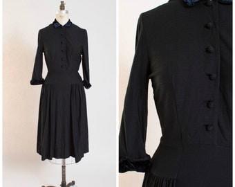 1950s Vintage Dress • Sophisticate Serenade • Black Wool Jersey 50s Vintage Shirtwaist Dress Size Medium