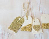 Gold Glitter on Wood Mini Gift Tags with Twine - 6 pc