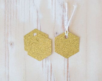 "Gold Glitter Hexagon/Honeycomb Small Gift Tags with Twine - 10 pc - 2"" x 1.75"""