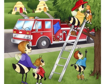 ORIGINAL PAINTING Fireman children's book illustration