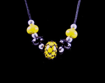 Black and Yellow Glass with Sterling  Silver.925 Uniqued Handmade Necklace