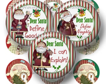 Christmas, Dear Santa, Digital Collage Sheets, 1 Inch, 1.25 Inch, 1.5 Inch, 2 Inch Circles, Ornaments, Cupcake Toppers, Crafts, Jewelry