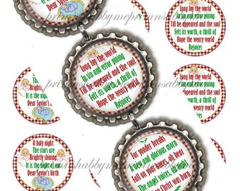 Christmas Ornament, Bottle Cap Images ,O Holy Night, 1 Inch Circle, Christmas Digital Collage Sheet, Religious, Hymn, Baby Jesus