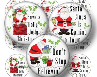 Santa, Bottle Cap Images, Christmas, Digital Collage Sheet, 1 Inch Circles, Instant Download, Printable Christmas, For Pendants, Magnets,