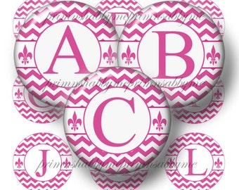 Pink Chevron, Alphabet, 20mm, 18mm, 16mm, 14mm, Circles, Bottle Cap Images, 1 Inch Circle, Digital Collage Sheets, Jewelry Making