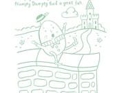 Humpty Dumpty - 5 x 7, 8 x 10, 11 x 14 Kinderlied Kunstdruck