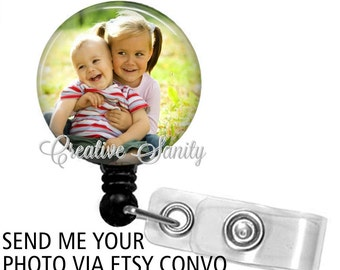 Retractable Custom Photo Badge Holder, Your Photo Badge Holder, Choice of Badge Reel ,Carabiner, Lanyard, Steth ID Tag, Littmann Stethoscope