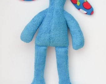 Easter bunny Stuffed bunny soft terry cloth turquoise blue bunny doll rabbit hare softie plush toy birthday baby shower gift nursery decor