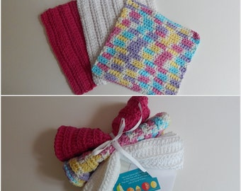 Dishcloth Gift Set – Crochet - Includes Gift Card – Hot Pink and White