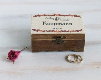 Fall Ring Bearer Box Autumn Wedding Ring Box Personalized Ring Box Rustic Wedding Box Engagement ring holder Pillow Alternative