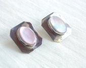 Mother of Pearl Post Earrings Pink MOP Sterling Silver Southwestern Rectangle Studs Posts Native American Made