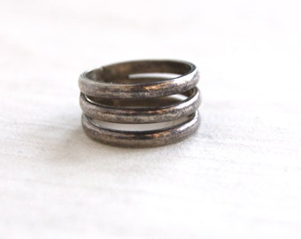 Triple Band Ring Sterling Silver Vintage Mexican Jewelry Size 5 .5 Three Stacking Cigar Band