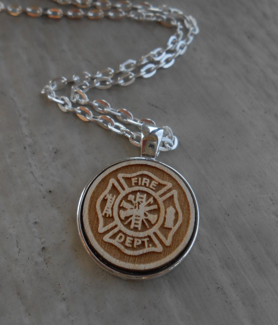 Fire Department Maltese Cross Necklace: Firefighter Maltese Cross Necklace. Laser Engraved. Wedding