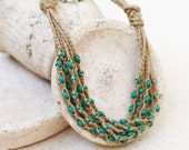 Natural jewelry Layered necklace Green tan necklace Rustic Boho Multi strand crochet beaded linen necklace Gift for her Summer