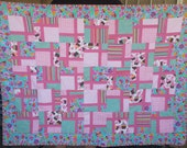 Pink and Green Flannel Cupcake Window Pane Nine Patch Quilt